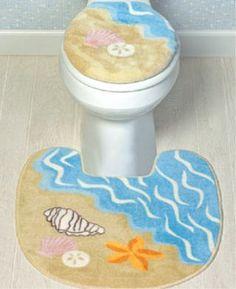 $16.95 SEA SHELL Bathroom Toilet Seat Cover decor RUG seashell  From OTC