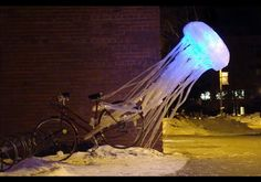 Super Punch: Glowing octopus and jellyfish sculptures made out of tape