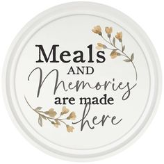 """Bring charm and handcrafted style to your home with the round """"Meals and Memories"""" Typography Wall Art. This handcrafted framed artwork delivers a traditional farmhouse look by pairing a wooden frame with inspirational message. Home Decor Wall Art, Wood Wall Art, Room Decor, Charger Plate Crafts, Charger Plates, Vinyl Quotes, Fall Mantel Decorations, Inspirational Message, Baby Names"""
