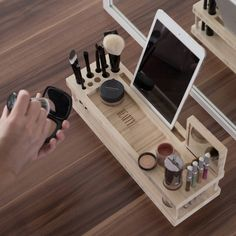 Beauty Station - wow, what a great makeup organization idea that also looks great with the decor of your home