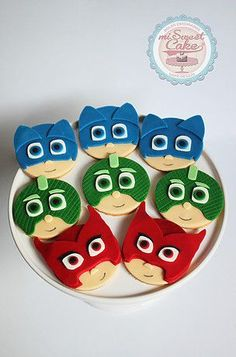 misweetcake ♥ Cake Design: PJ Masks Cookies / Bolachas PJ Masks https://www.facebook.com/misweetcakedesign/ https://www.instagram.com/misweetcake/
