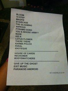 radiohead setlist at #coachella