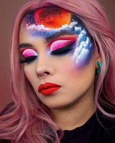 172 creative makeup looks you need to try - Make Up Ideas Makeup Eye Looks, Eye Makeup Art, Colorful Eye Makeup, Clown Makeup, Crazy Makeup, Pretty Makeup, Halloween Makeup, Devil Makeup, Witch Makeup