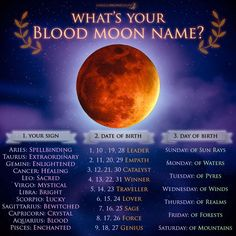 What's your Blood Moon Name? - Eclipse, July 27 What's your Blood Moon Name? - Eclipse, July 27 What's your Blood Moon Name? - Eclipse, July 27 What's your Blood Moon Name? Blood Moon Rituals, New Moon Rituals, Funny Name Generator, Blood Moon Eclipse, Lunar Eclipse, Moon Names, Moon Related Names, Moon Spells, Magic Spells