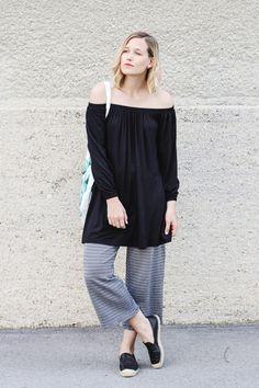 tifmys – Asos off-shoulder dress, Zara culottes & H&M leather espadrilles and Cacti canvas bag.