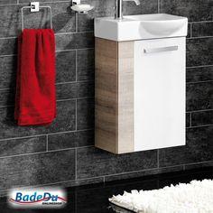 Fackelmann A-VERO Badmöbel Set Gäste-WC Farbe Graueiche-Optik/Weiß (2-teilig) - Waschbecken rechts