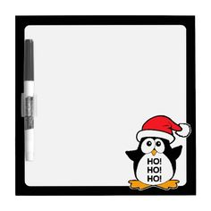 Cute Christmas Penguin Ho Ho Ho Dry Erase Board. #penguin #christmaspenguin #christmas #hohoho