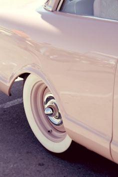 pink vintage car at the primer nationals in ventura, california