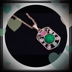 """18k gold filled necklace Gorgeous pendant necklace. Chain measures approximately 19"""" plus the extender. Beautiful pink and blue stones, surrounded by rhinestones. Jewelry Necklaces"""