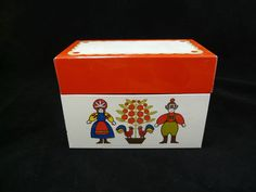 Vintage Ohio Art Tin Metal Recipe Box Swedish Folk Art Boy And Girl