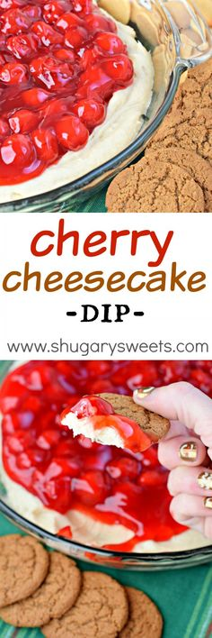 This Cherry Cheesecake Dip recipe is the perfect snack for the holidays. Serve as an appetizer or dessert, it's creamy delicious flavor will have you begging for more! Perfect Snack Idea for the Super Bowl! Dessert Dips, Köstliche Desserts, Dessert Recipes, Dip Recipes, Appetizer Recipes, Cooking Recipes, Party Appetizers, Recipies, Cherry Cheesecake Dip