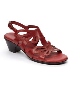 Look at this Rose Petals by Walking Cradles Red Rouge Leather Sandal on #zulily today!