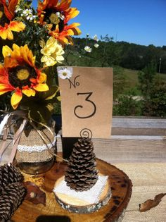 Table numbers or wedding favors or card by SawmillCreations, $5.00/ cute idea