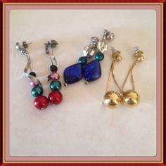 """3pr of earrings 3 pairs of earrings. Selling as set only. Each measures about 1-1 1/2"""". No trades Jewelry Earrings"""