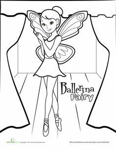 This ballerina fairy coloring page features this beautiful and fortunate creatureâimagine dancing without ever having to put your feet on the stage! Ballerina Coloring Pages, Dance Coloring Pages, Summer Coloring Pages, Fairy Coloring Pages, Coloring Pages For Girls, Cool Coloring Pages, Coloring For Kids, Coloring Books, Coloring Sheets