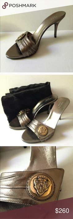 New Gucci Metallic Sandals NWOT Gucci metallic sandals with Gucci crest ornament across arch. Very soft leather! Comes with box and dust bag. Never worn. Size 6 1/2.  NO trades Gucci Shoes Sandals