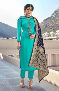 Sky Blue Satin Georgette Party Wear Salwar Kameez With Banarasi Silk Dupatta Product Details: A beautiful fusion of elegance and charm is what this stunning sky blue color salwar kameez. Crafted of satin georgette, this suit comes with santoon inner Indian Designer Suits, Designer Wear, Georgette Fabric, Silk Dupatta, Benarasi Dupatta, Salwar Kameez, Patiala, Kurti, Salwar Pants