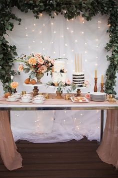 Dessert table for a birthday party. Flowers by Brie Walter. Cake by The Good Coo… Dessert table for a birthday party. Flowers by Brie Walter. Cake by The Good Cookies. Calligraphy by Sierra Johnson. Photo by Sara Weir (via Style Me Pretty). 30th Birthday Parties, 16th Birthday, Classy 21st Birthday, Dessert Table Birthday, Elegant Birthday Party, 30th Party, 30th Birthday Cake For Her, Baptism Dessert Table, Rustic Birthday Cake