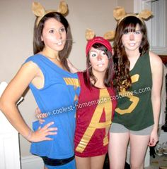 Homemade Halloween costumes for triplets | Coolest Homemade Alvin and the Chipmunks Group Costume 4
