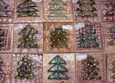 Yarn Trees - I can do it with the grankids. Elementary Art Lesson Plans, Upper Elementary, Yarn Trees, 6th Grade Art, Holiday Tree, Christmas Trees, Spring Art, Winter Kids, Art Club