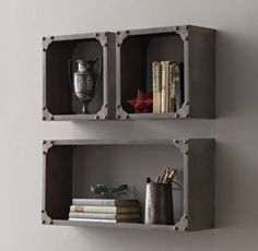 RH Baby & Child's Industrial Rivet Display Shelf:Riveted corner brackets and a sturdy metal frame give our shelves an early industrial sensibility, while the aged finish replicates the look of a vintage find.