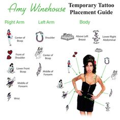 Amy Winehouse with her tatoos