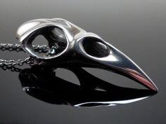 Bird Skull Necklace in Pewter Handmade Raven Crow Pendant Steampunk Goth Jewelry