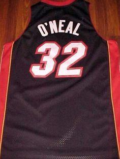 Reebok NBA Southeast Miami Heat Shaquille O Neal 32 Black Red Swingman  Jersey XL   ef93215f8