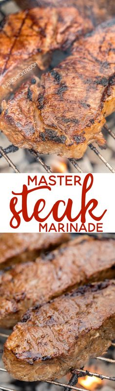 Master Steak Marinade - better than any fancy steakhouse!! A few simple ingredients that packs a ton of flavor into your steak! Can make marinade ahead and refrigerate for later. Perfect for grilling steaks for a crowd! Red wine vinegar, chili sauce, oil,