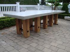 Custom Two-Piece Concrete Top Dining Table 10 Block Legs of 6