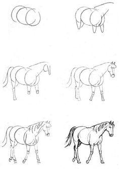 Resultado de imagen para Drawing Horses Tutorial by Smirtouille Cool Art Drawings, Horse Drawings, Pencil Art Drawings, Art Drawings Sketches, Easy Drawings, Animal Drawings, Horse Sketch, Animal Sketches, Horse Art