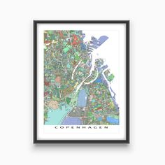 Had a great trip to Copenhagen Denmark? Planning a vacation? Or just lucky enough to live there? Then this Copenhagen map print will be great on your wall! This city map has a modern, abstract art design made from of lots of little colourful (blue, grey, sage green and yellow) shapes. Each shape is actually a city block or a piece of land - and these shapes combine like a mosaic to form this #Copenhagen print. #Denmark #Map