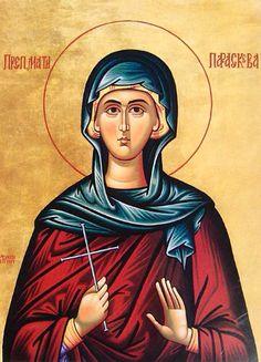Petka of Serbia - Oct. Byzantine Icons, Byzantine Art, Religious Images, Religious Icons, Paint Icon, Orthodox Christianity, Early Christian, Christmas Scenes, Orthodox Icons