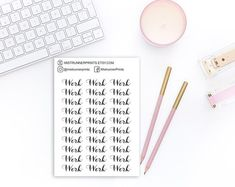Work elegant script stickers: work, typography, cursive script, black and white, word stickers Cursive Script, Mini Hands, Beautiful Fonts, Weekly Planner, Planner Stickers, Hand Lettering, How To Draw Hands, Etsy Seller, Typography