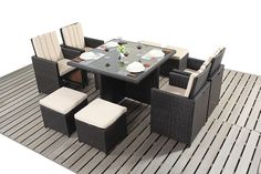 http://www.bonsoni.com/bonsoni-cube-4-piece-includes-a-glass-top-table-four-armchairs-with-extendable-back-rests-and-four-footstools-rattan-garden-furniture  As pictured it comes with seat cushions and ribbed back cushions for added comfort.  http://www.bonsoni.com/bonsoni-cube-4-piece-includes-a-glass-top-table-four-armchairs-with-extendable-back-rests-and-four-footstools-rattan-garden-furniture
