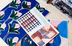 Melbourne-based textile and surface designer Cassie Byrnes with one of her surface designs. Photo – Eve Wilson for The Design Files.