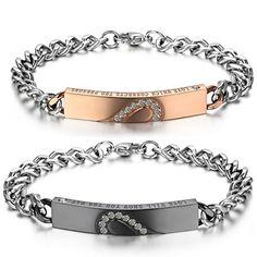 17a71e459b8b JewelryWe Bijoux 2 pcs Bracelet Homme Femme Amour d Amitié Cadeau de saint  valentin Puzzle Coeur Amour Acier Inoxydable Fantaisie pour Homme et Femme  Chaîne ...