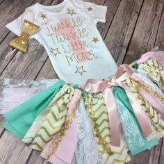 Any Age Personalized Twinkle Twinkle Little Star Pink, Mint / Teal and Gold Birthday Outfit - Onesie / Shirt, Fabric Tutu, & Bow Headband