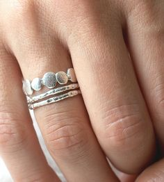 Textured Bands & Pebble Ring