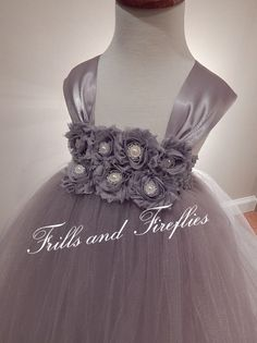 Gray Flower girl dress Grey Shabby Chic Tutu by FrillsandFireflies, $55.00