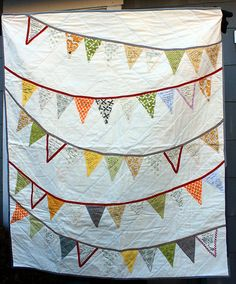 Bunting Flags Wedding Quilt Signature Guest Book by WaterPenny
