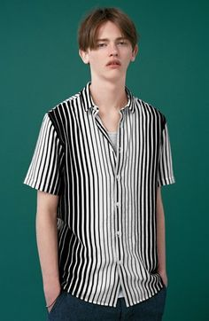 hah, model... idiot.   |  Topman Variegated Stripe Shirt (Brit Pop-In) | Nordstrom