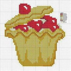 587 Cupcake, Plastic Canvas, Cross Stitch, Loom Patterns, Home Decor, Ideas, Cross Stitch Borders, Cross Stitch Flowers, Cross Stitches