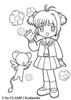 Coloriage de petite Sakura en écolière