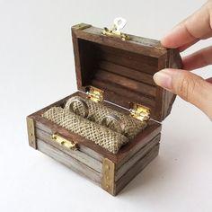 SALE Mint Treasure Chest Ring Bearer Travel Wedding Ring Box