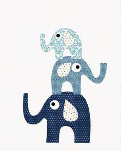 Blue Elephant Nursery Artwork Print // Baby by 3000yardsofthread, $14.00