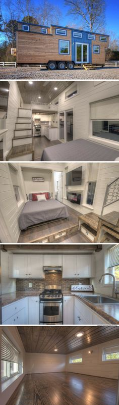 A new version of Alabama Tiny Home's popular Freedom model with new upgrades and features! Small Tiny House, Tiny House Living, Tiny House Plans, Tiny House On Wheels, Tiny House Design, Tiny Apartments, Tiny Spaces, Tiny House Community, Tiny House Nation