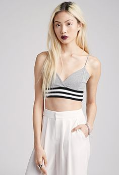 Varsity-Striped Cami Crop Top   FOREVER21   #thelatest