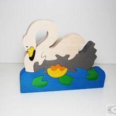 Puzzle en bois, signe, lac, animal, nenuphar