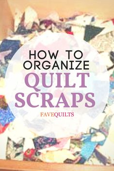 The Scrap User's System teaches you how to organize fabric scraps so that you will actually use them in future quilts! After cutting scraps into a variety of useful sizes, you will sort and organize the scraps by size for scrap quilts. Quilting For Beginners, Quilting Tips, Sewing Projects For Beginners, Quilting Tutorials, Machine Quilting, Quilting Projects, Quilting Designs, Crazy Quilting, Quilting Templates